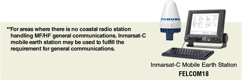 ** For areas where there is no coastal radio station handling MF/HF general communications, Inmarsat-C mobile earth station may be used to fulfill the requirement for general communications.