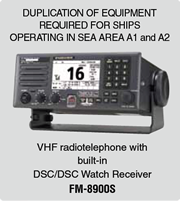DUPLICATION OF EQUIPMENT REQUIRED FOR SHIPS OPERATING IN SEA AREA A1 and A2 VHF radiotelephone with built-in DSC/DSC Watch Receiver FM-8900S